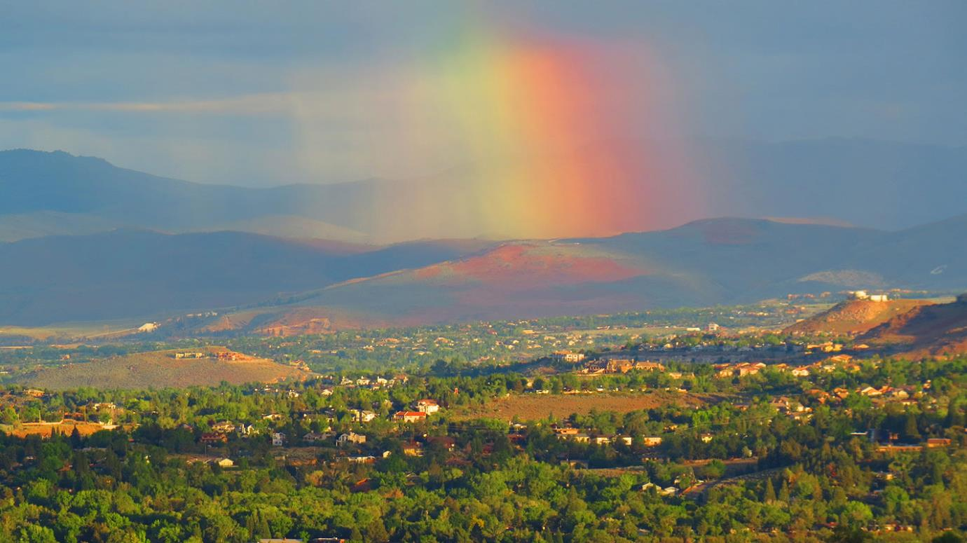Reno Skyline in Summer with Rainbow
