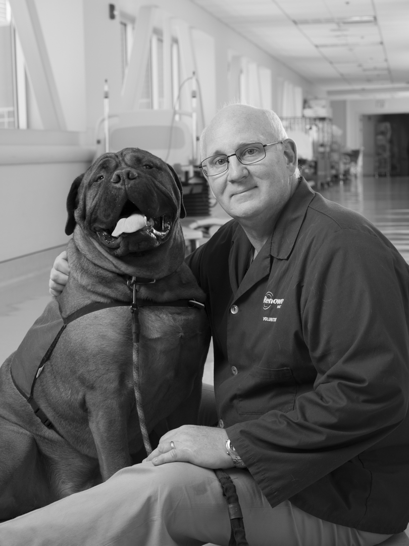 Ed Ferrell and therapy dog Waldo