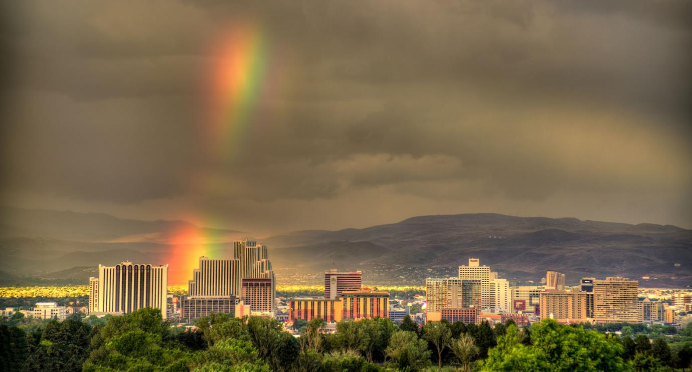 Reno Overview with Rainbow and gloomy clouds