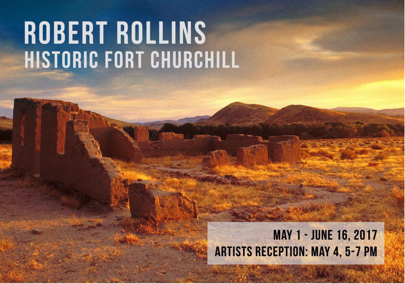 Robert Rollins Postcard Image featuring a desert landscape with fort collins and blue sky with clouds