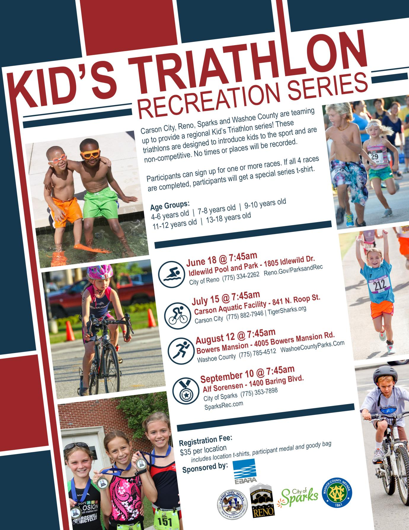 Kids Triathlon recreation series flyer