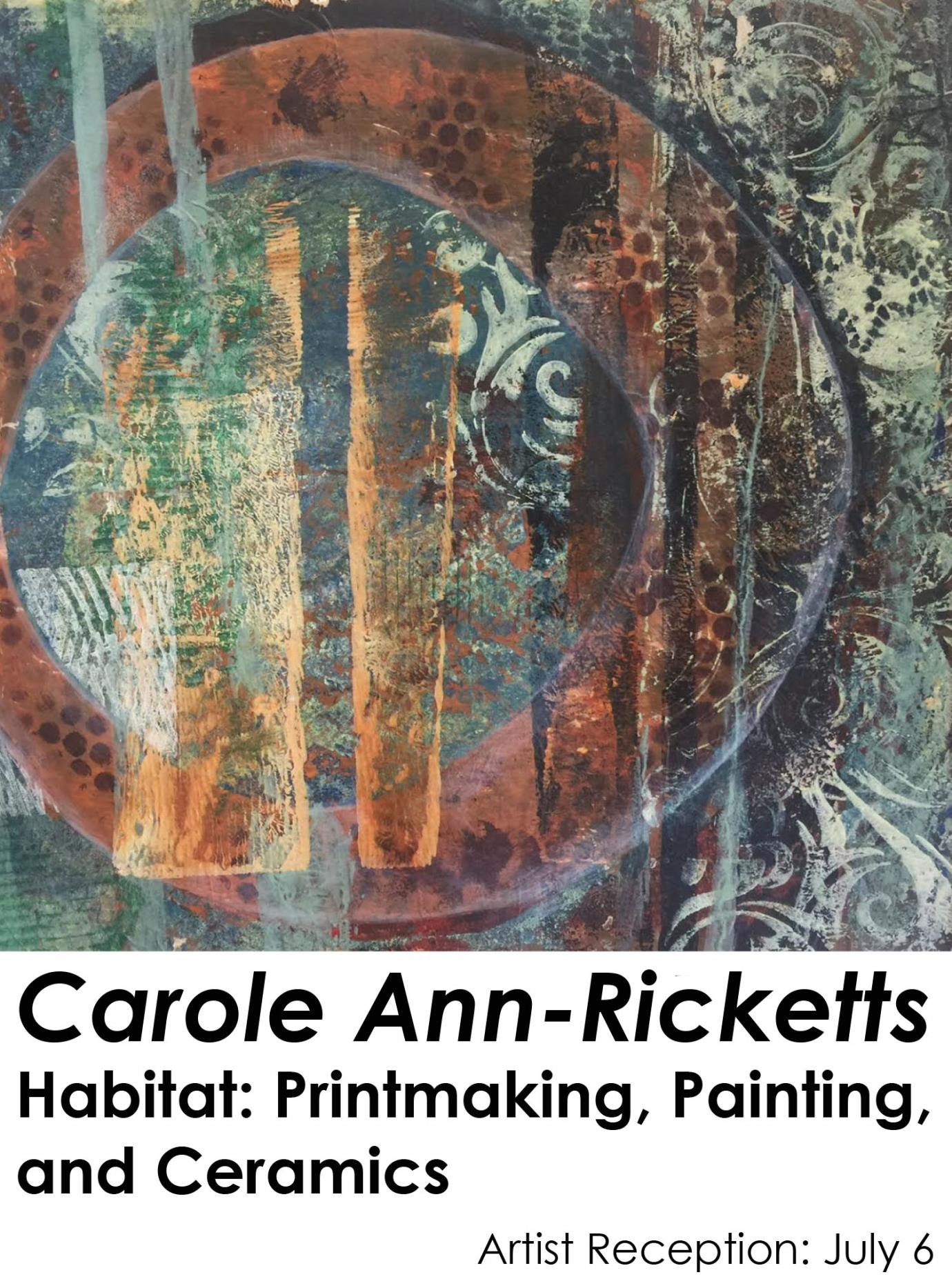 Abstract mixed media painting with a green background, a large red circle outlined with two navy blue lines, and orange lines going through the circle; Carole Ann Ricketts Habitat: Printmaking, Painting, and Ceramics; Artist reception July 6th