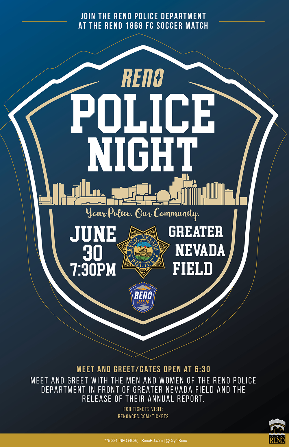 Reno Police Night at Greater Nevada Field flyer