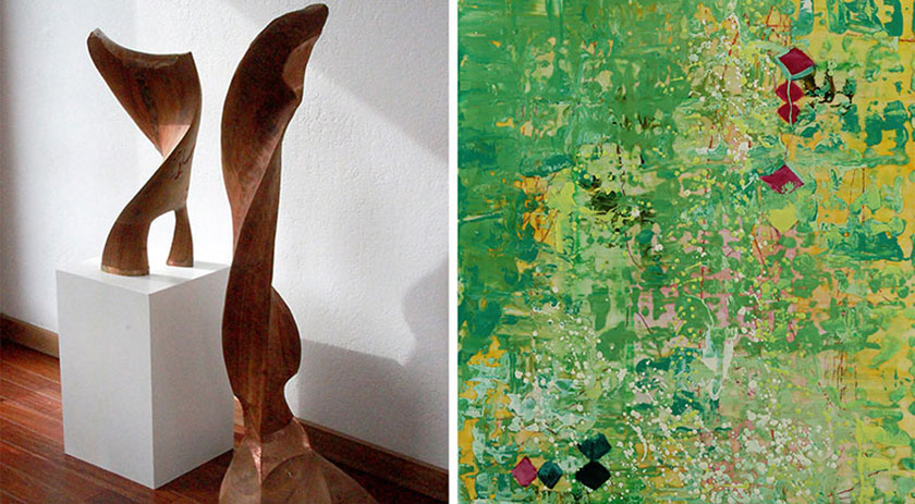 Abstract Sculpture and abstract painting
