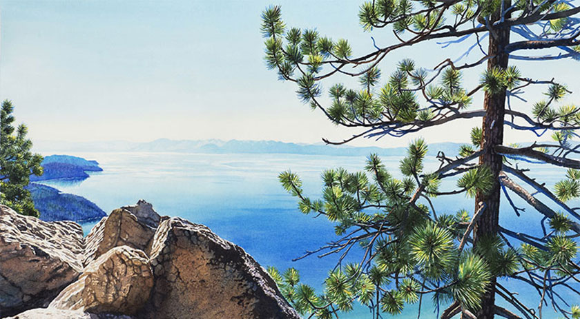 Watercolor painting of Lake Tahoe