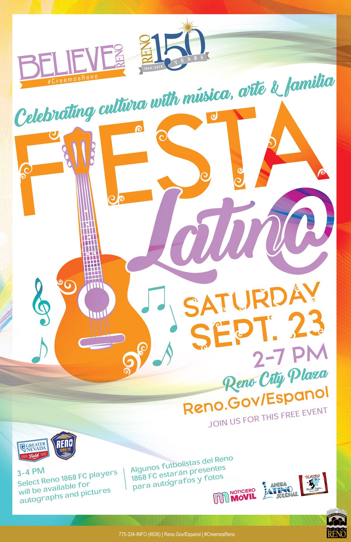 Fiesta Latina Flyer - Saturday September 23, 2-7pm on City Plaza