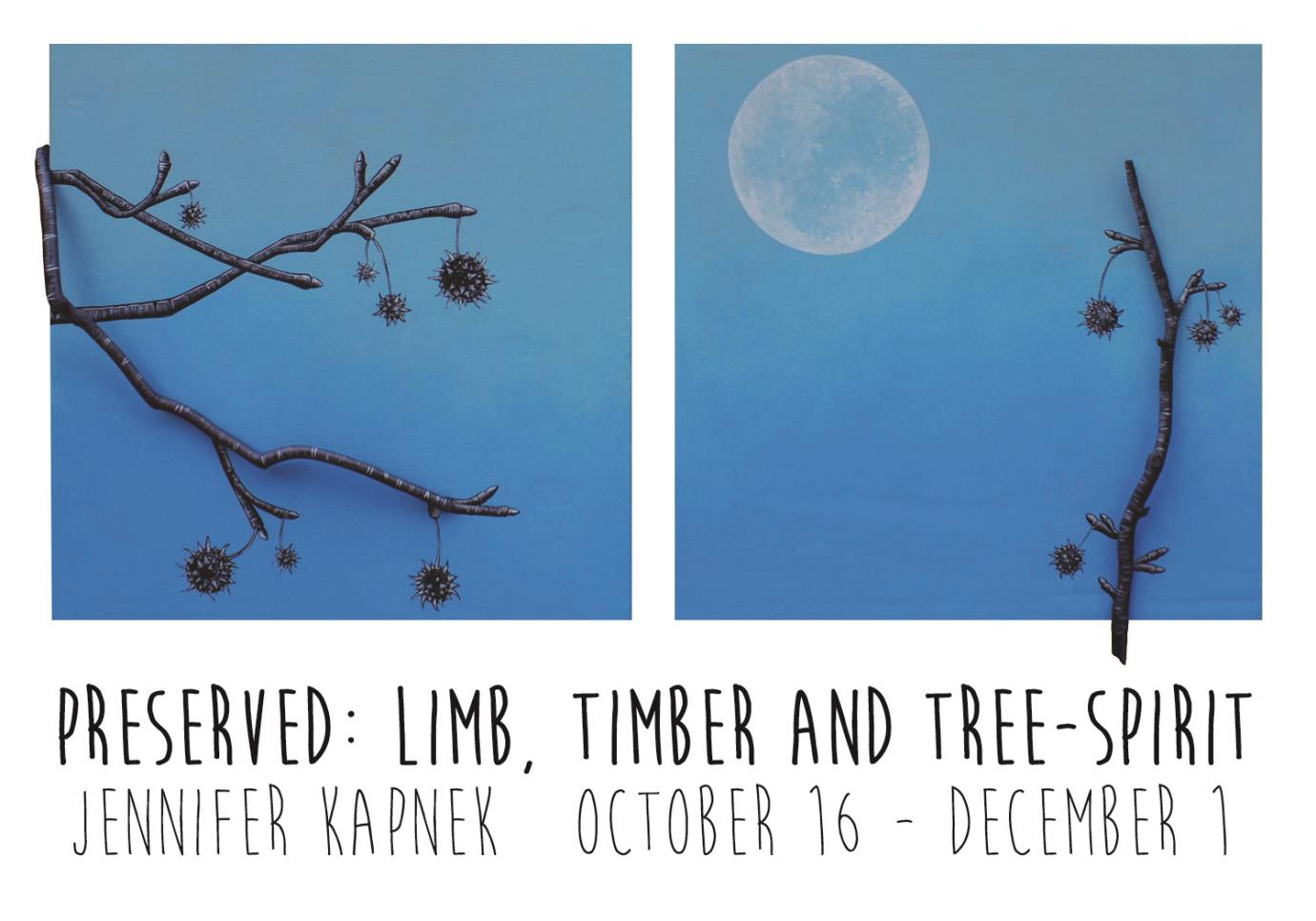 Two blue paintings with trees and a moon; Preserved: Limb, Timber, and tree-spirit, Jennifer Kapnek; October 16 - December 1