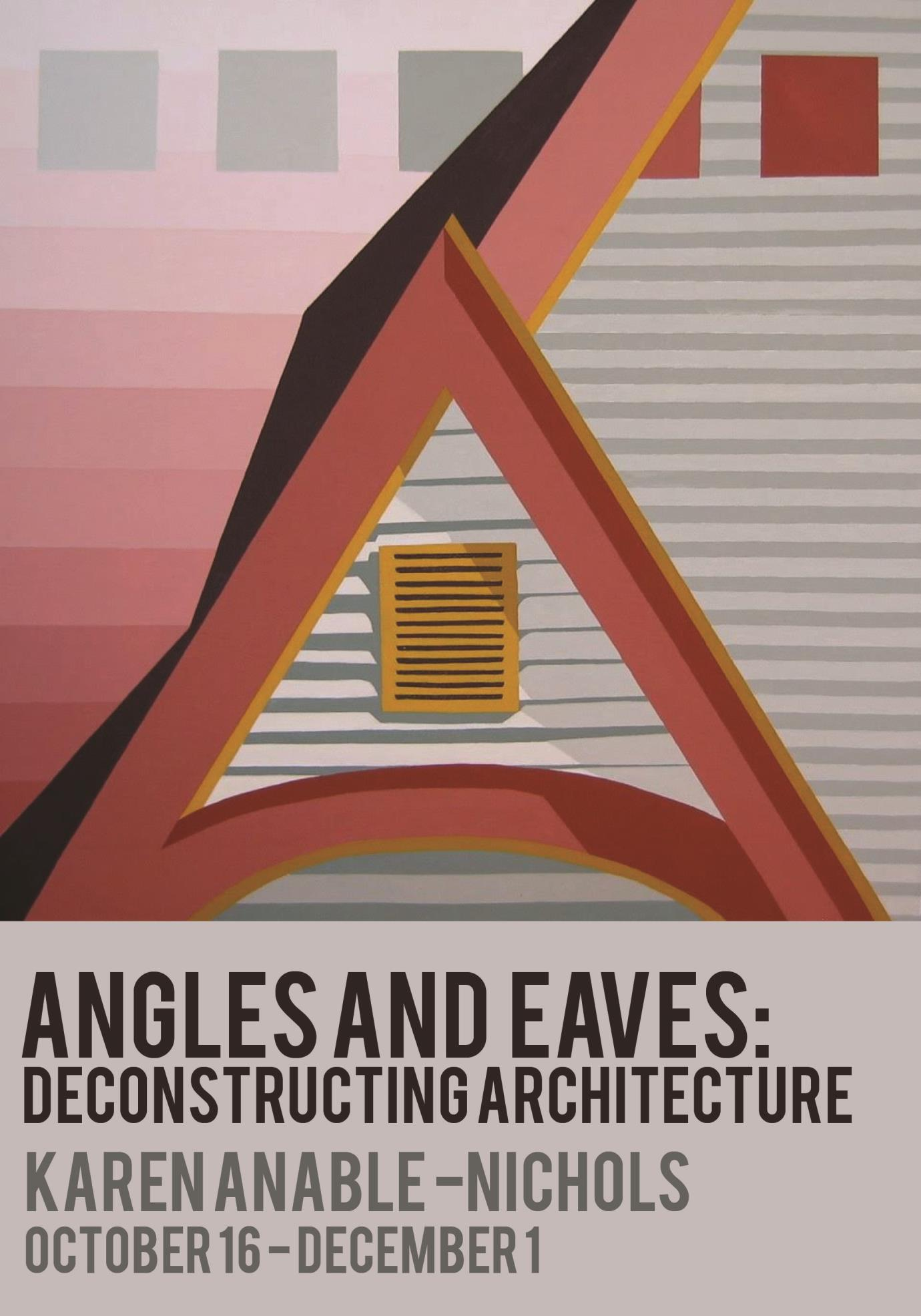 Abstract image with a red triangular shape in the middle fading from pink to red on the left side, and stripes of grey on the right; Angles and eaves: Deconstructing Architecture; Karen Anable-Nichols, October 16 - December 1