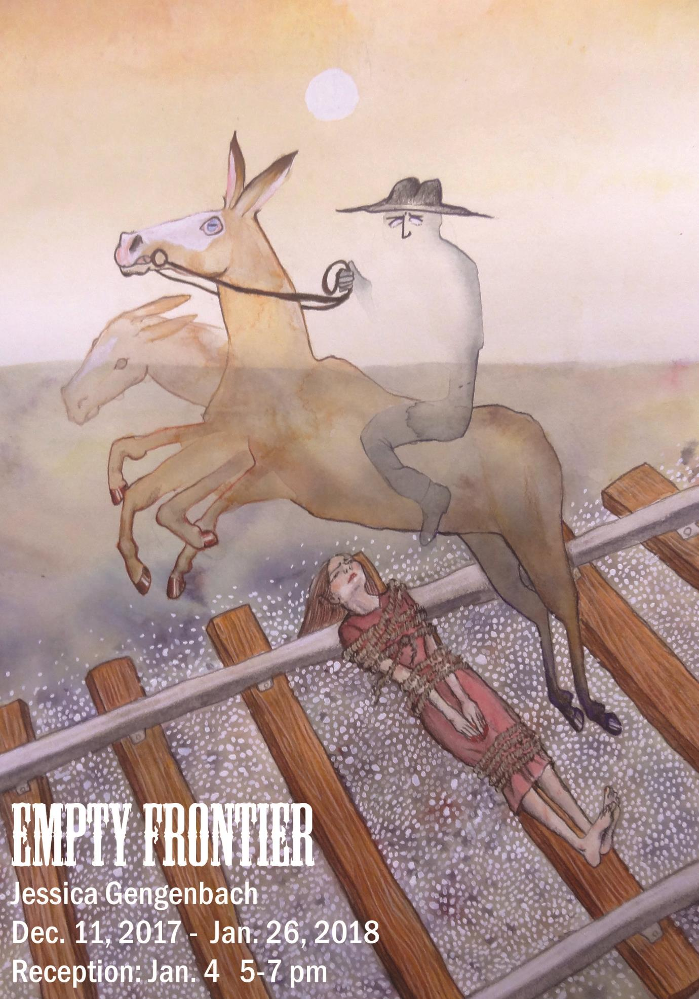 Drawing of a cat with a hat riding a horse across train tracks with a girl tied to them in muted colors, Empty Frontier Jessica Gengenbach, Dec. 11 - Jan. 26, 2018, Artist Reception Jan. 4, 5-7 pm