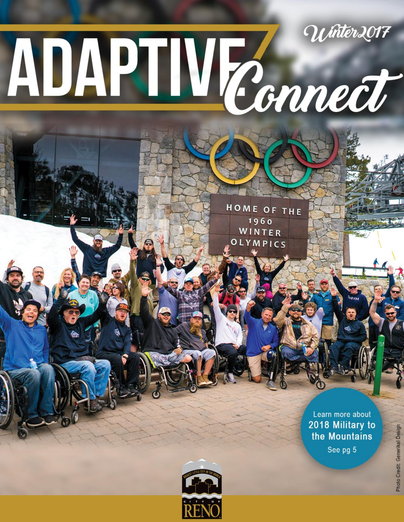 Cover of Adaptive Connect Winter 2017 with group of people in front of Squaw Valley