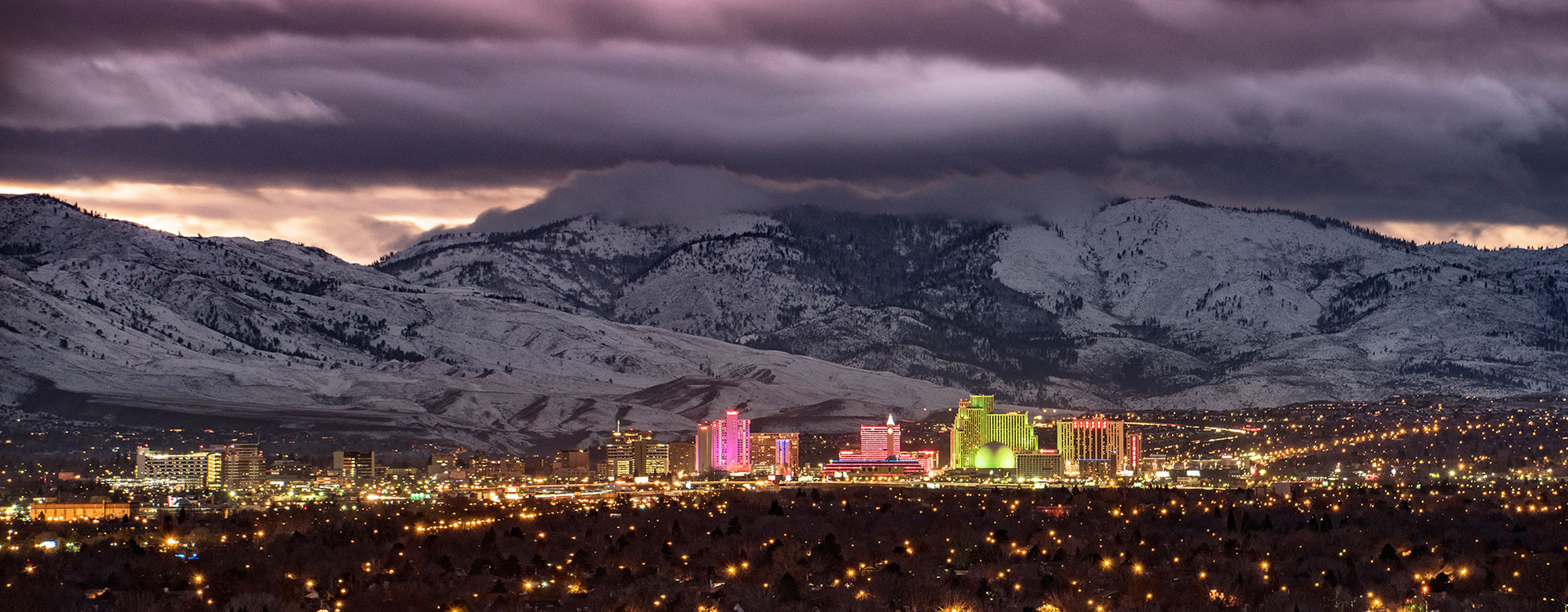 Overview of Reno in the Winter at night