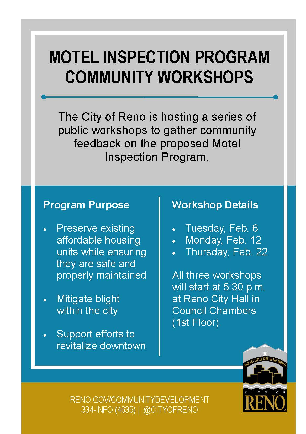 Motel Inspection Program community workshops on 2/6/18, 2/12/18, and 2/22/18 at Reno City Hall at 5:30 p.m.