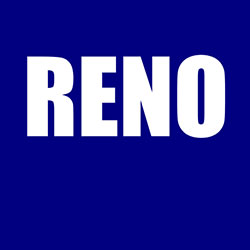 Reno text on blue background