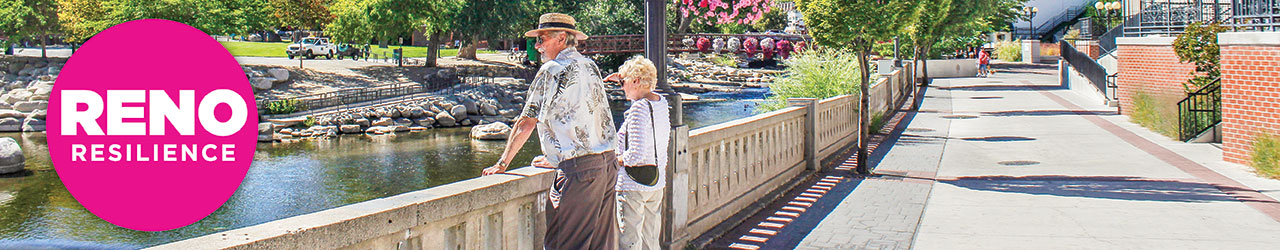 Senior couple looking at Truckee River with Reno Resilience logo on top of image