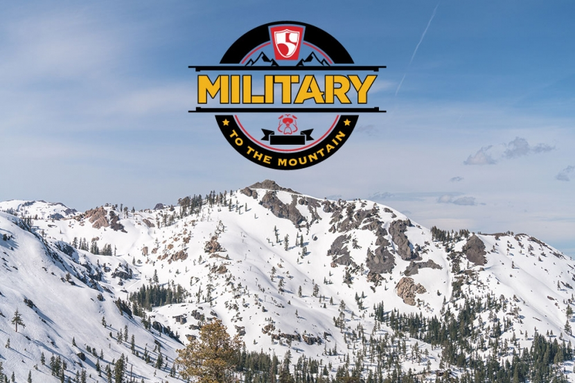 Military to the Mountain logo with snow covered mountain in background