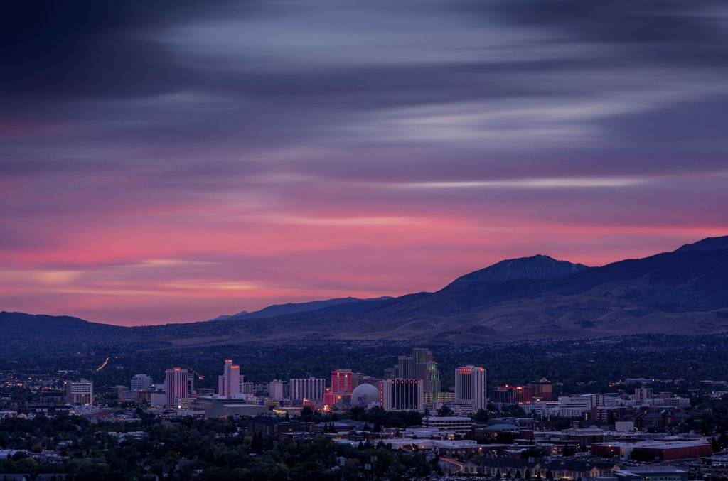 Reno Skyline Sunset by Beau Rogers