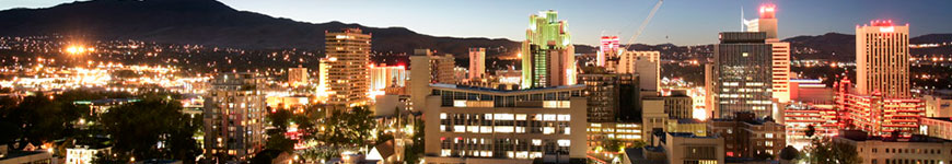 Overview of downtown Reno at sunset