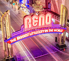 Reno Arch at night