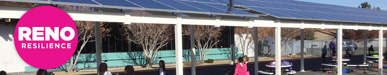 Solar panels on patio structure at a school. Reno Resilience logo on top of image.