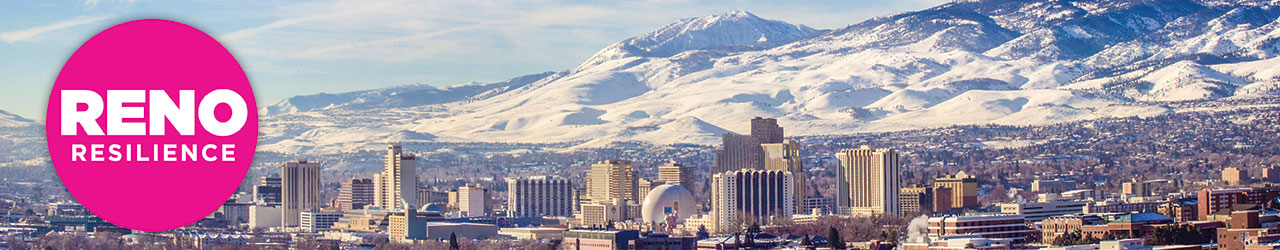 Overview of Reno in winter with Reno Resilience logo on top of image