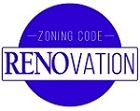 Logo with blue circle with zoning code and RENOvation banner