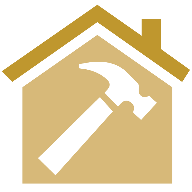 House icon with hammer inside