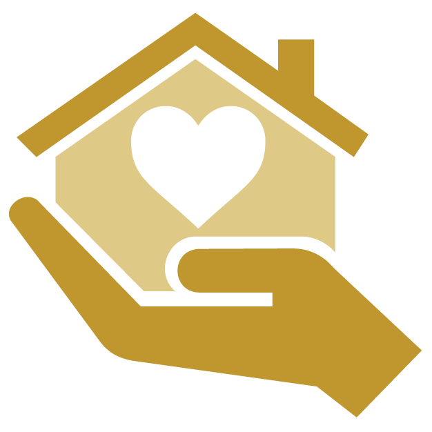 Hand holding house icon with heart inside