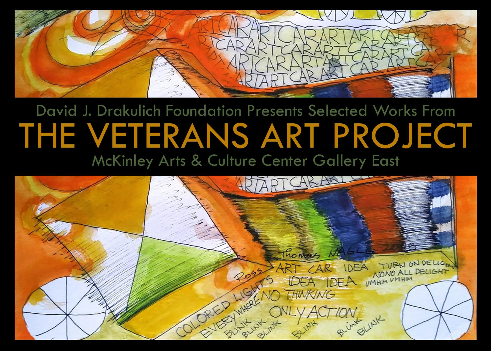 An abstract painting of an art car in predominantly oranges.  The David J. Drakulich Foundation Presents Selected works from The Veterans Art Project.  January 7 to February 15.  Reception January 17 from 5 to 7. McKinley Center Gallery East.