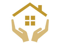 Homeless Icon hands holding house