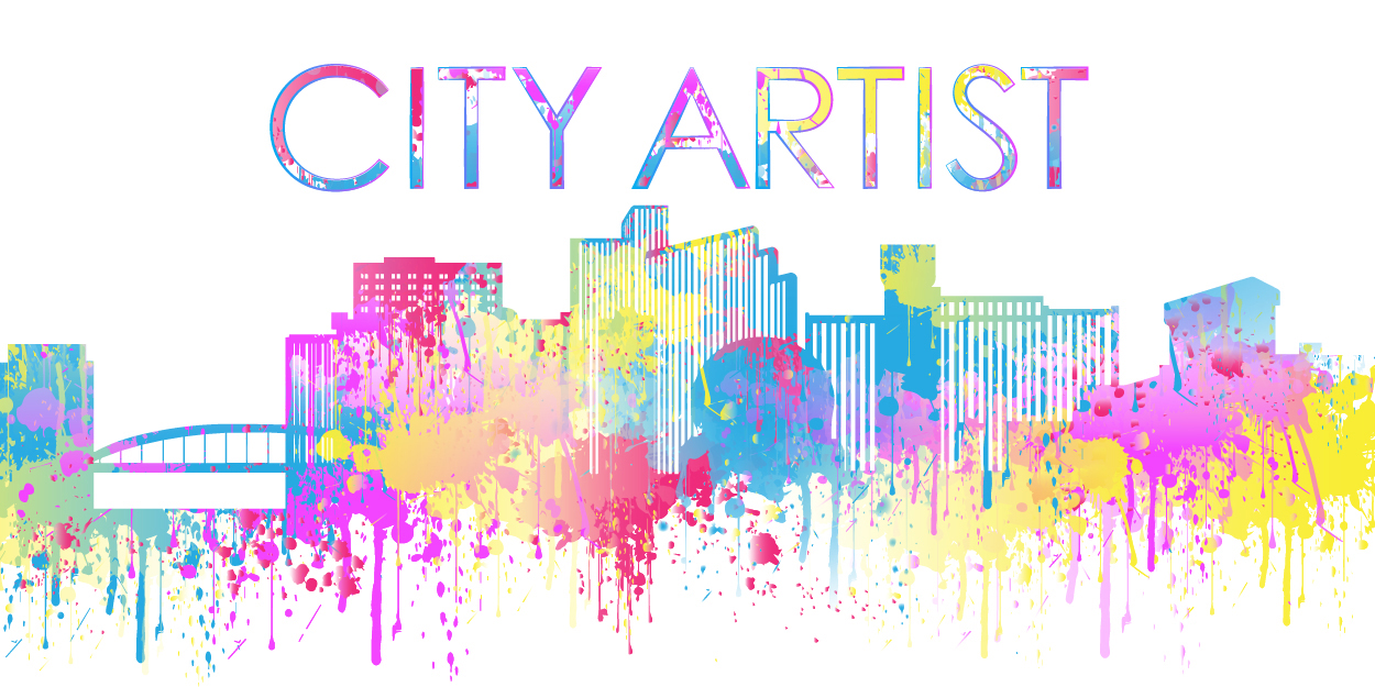 City Artist text above a colorful skyline of downtown Reno