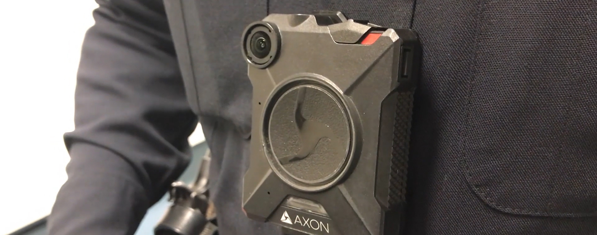 Close up view of body camera on police officer