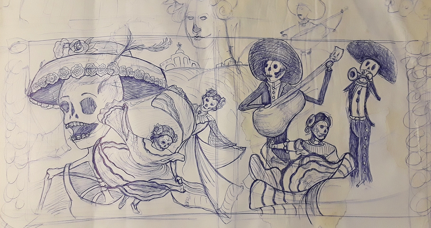 Sketch of a day of the dead scene with dancing skeletons and skeletons playing instruments