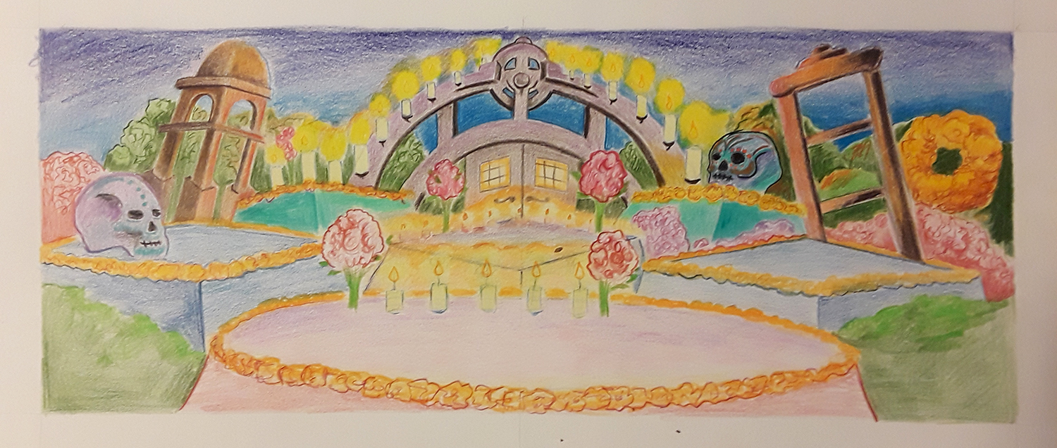 colorful drawing of an altar for Day of the Dead with skulls, candles, flowers, and trees in the background