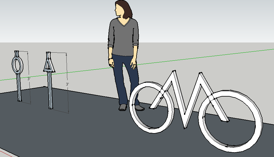 Artist rendering of a person standing behind three artistic bike racks made out of geometric shapes