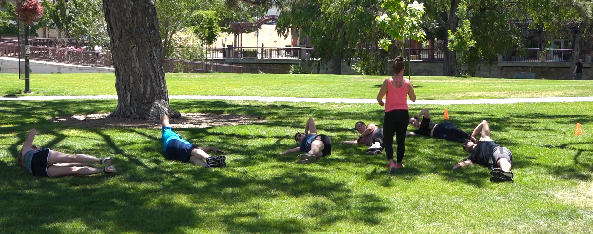 Group of people exercising at Wingfield Park