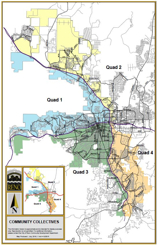 Map of the City of Reno showing different quadrants for proposed community collectives