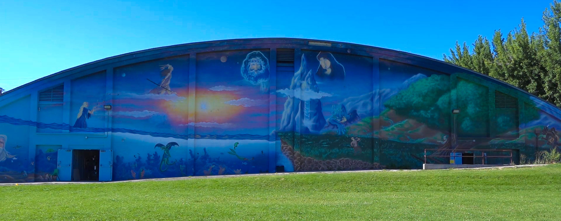 Plumas Park Mural showing greek mythology images
