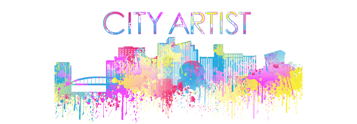 City skyline with the words city artist above in multi colored paint splatter