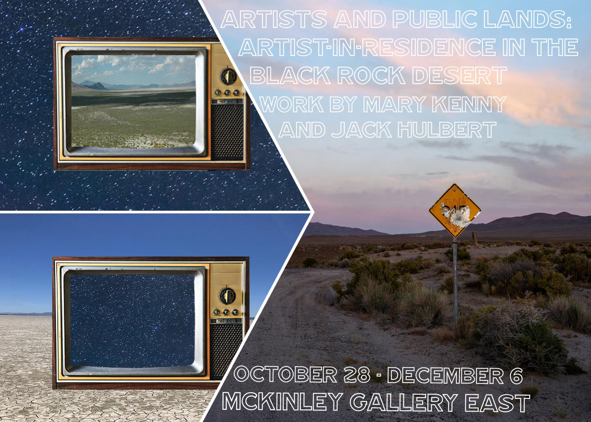 An image of two tvs showing a desert landscape and the stars.  An image of an illegible road sign.