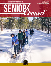 Cover of Fall 2019 Senior Connect with people snowshoeing