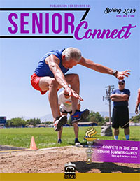 Cover of Spring 2019 Senior Connect with person long jumping