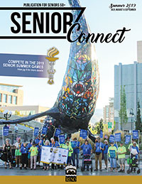 Cover of Summer Senior Connect with group in front of Space Whale art sculpture