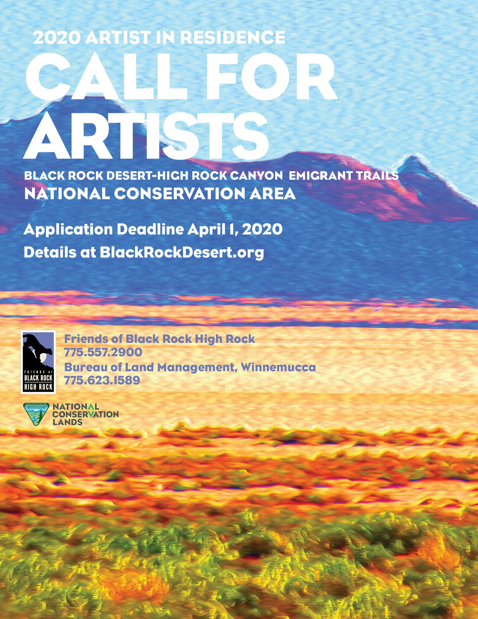 Poster for Call for applications to Friends of Black Rock Artist Residency picturing stylized Nevada landscape with blue sky, purple mountains, and yellow desert.