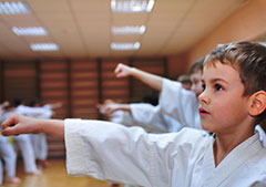 Kid in martial arts class