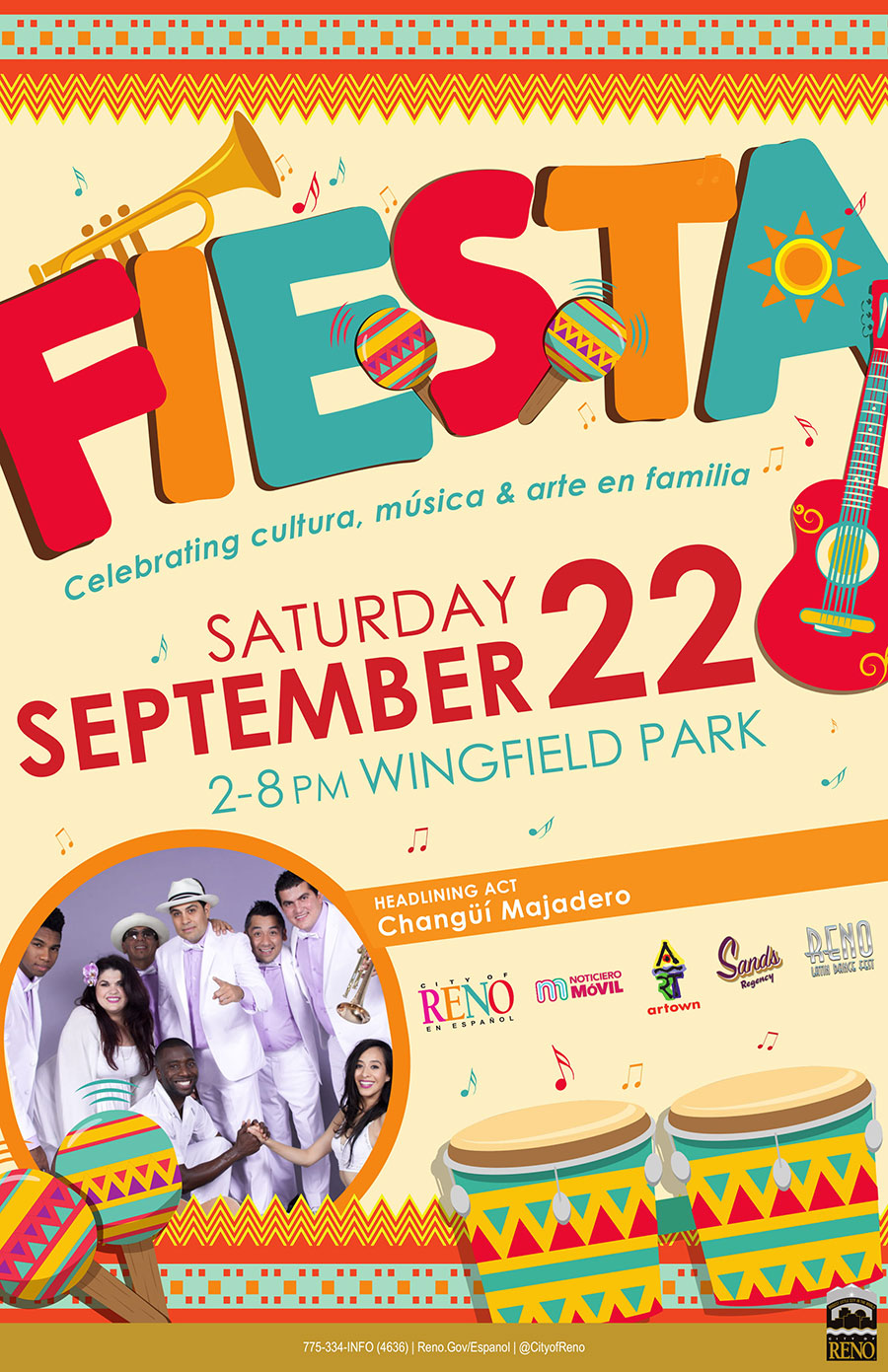 Flyer for Fiesta 2018 Saturday September 22 2-8pm at Wingfield Park