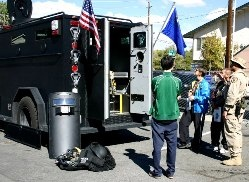 SWAT member shows truck at Open House.